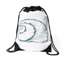 Seashell, sea shell, nature ocean aquatic underwater vector. Hand drawn marine engraving illustration on white background Drawstring Bag