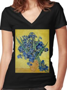Vincent van Gogh Irises Women's Fitted V-Neck T-Shirt
