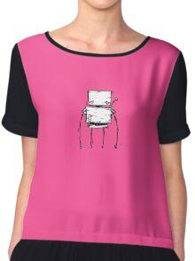 TAB the robot - white BG Chiffon Top