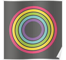 Rainbow Rings Charcoal Poster