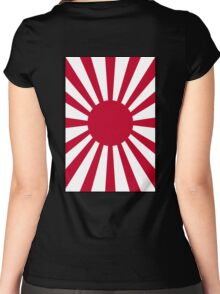Japanese War flag, Imperial Japanese Army, WWII, WAR, Japan, Japanese, Nippon, Portrait on Black Women's Fitted Scoop T-Shirt