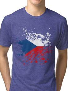 Czech Republic Flag Ink Splatter Tri-blend T-Shirt