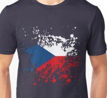Czech Republic Flag Ink Splatter Unisex T-Shirt