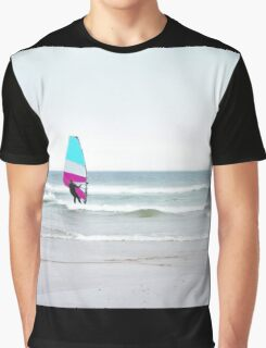Windsurfer with Aqua and Magenta Graphic T-Shirt