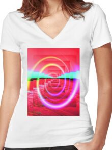 Red Abstract 2 Women's Fitted V-Neck T-Shirt