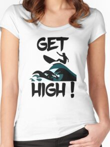 Get High! Surfer Silhouette Women's Fitted Scoop T-Shirt