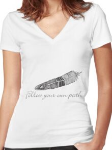 Feather inspiration Women's Fitted V-Neck T-Shirt