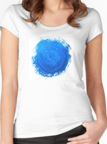 Blue brush strokes Women's Fitted Scoop T-Shirt