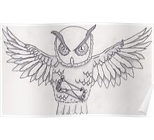 Time Owl Pencil  Poster
