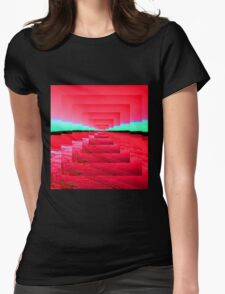 Red Abstract Womens Fitted T-Shirt