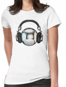 Headphone disco ball Womens Fitted T-Shirt