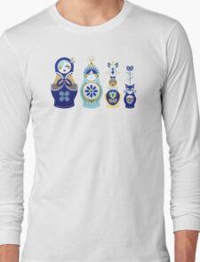 Russian Nesting Dolls – Blue & Gold Long Sleeve T-Shirt