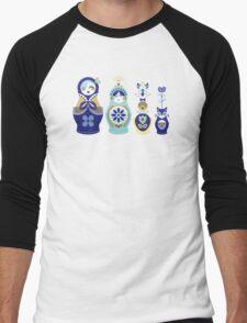 Russian Nesting Dolls – Blue & Gold Men's Baseball ¾ T-Shirt