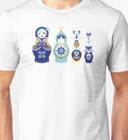 Russian Nesting Dolls – Blue & Gold Unisex T-Shirt