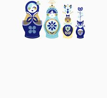 Russian Nesting Dolls – Blue & Gold Unisex T-Shirt