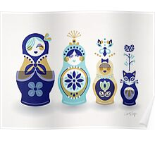 Russian Nesting Dolls – Blue & Gold Poster
