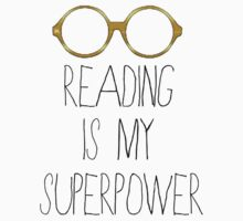 Reading is my superpower - White/Gold Baby Tee