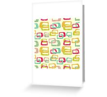 retro colorful abstract pattern Greeting Card