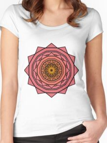 Sunny Kaleidoscope in Pink and Yellow Women's Fitted Scoop T-Shirt