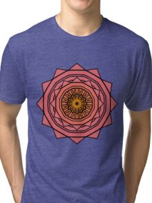 Sunny Kaleidoscope in Pink and Yellow Tri-blend T-Shirt