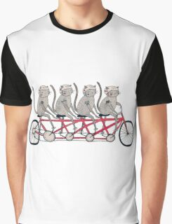 Tandem Bicycle Cat Gang Graphic T-Shirt
