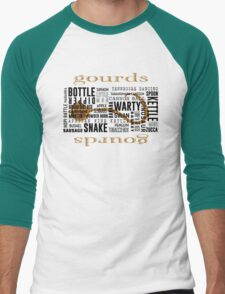 Gourd Typography White Letters by Chris Peters Men's Baseball ¾ T-Shirt