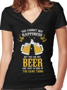 Beer and Happiness Women's Fitted V-Neck T-Shirt