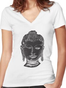 Buddha Drawing Women's Fitted V-Neck T-Shirt