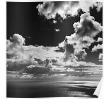 Seascape with dangly clouds - photograph Poster