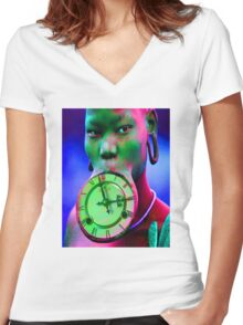 The illusion of Time Women's Fitted V-Neck T-Shirt