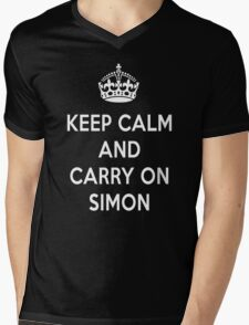 Keep Calm and Carry on Simon Mens V-Neck T-Shirt
