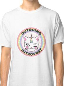 Outgoing Introvert Unicorn Cat Classic T-Shirt