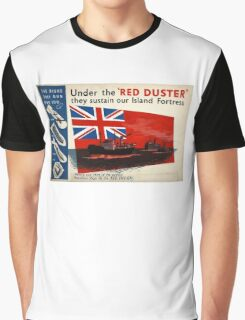 WAR POSTER, Red Duster, Red Ensign, UK, GB, Royal Merchant Navy, WWII, Poster Graphic T-Shirt