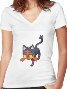 Litten - NEW Pokemon game Starter Women's Fitted V-Neck T-Shirt