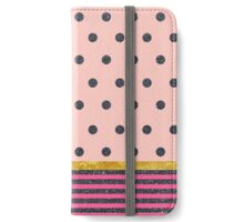 Shiny Black Polka Dots and Stripes on Pink iPhone Wallet/Case/Skin