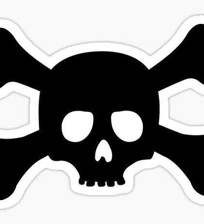 Attention Crossbones Skull Sticker