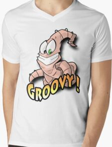 Groovy Worm  Mens V-Neck T-Shirt