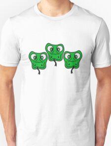 3 friends team cool crew party head face funny long comic cartoon snake Unisex T-Shirt