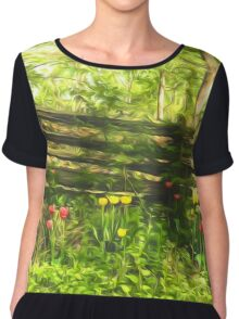 Impressions of Gardens - Colorful Tulips and a Rustic Fence Chiffon Top