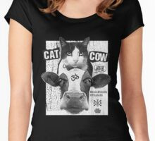 Yoga: Cat Cow Straight Edge Matinee  Women's Fitted Scoop T-Shirt