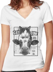 Cat Cow Energy Show Flyer Women's Fitted V-Neck T-Shirt