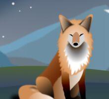 Fox in the moonlight Sticker