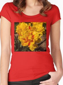 Showy Sunny Yellow Tulips Women's Fitted Scoop T-Shirt