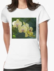 Pale Yellow Orchids in Lush Jungle Green Womens Fitted T-Shirt