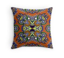 Boho Oriental Floral Pattern Throw Pillow