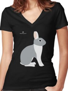 Lilac White Eared Rabbit Women's Fitted V-Neck T-Shirt