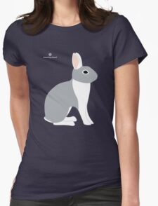 Lilac White Eared Rabbit Womens Fitted T-Shirt