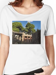 Herculaneum Ruins - Colorful Murals Courtyard Behind a Rough Stone Wall Women's Relaxed Fit T-Shirt