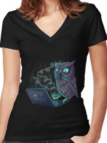 Night Bird Coffee Lover Women's Fitted V-Neck T-Shirt