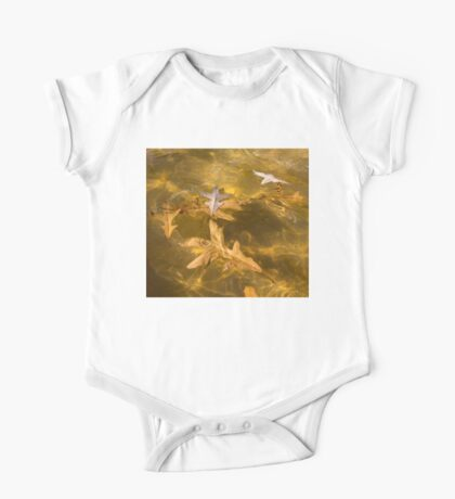 Gold Fall - Oak Leaves Floating in a Fountain One Piece - Short Sleeve